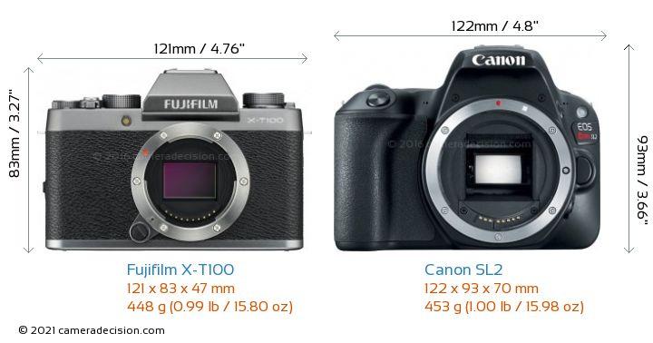 Fujifilm X-T100 vs Canon SL2 Camera Size Comparison - Front View