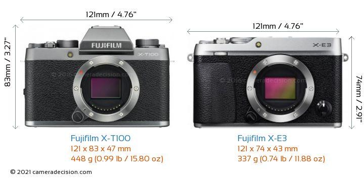Fujifilm X-T100 vs Fujifilm X-E3 Camera Size Comparison - Front View