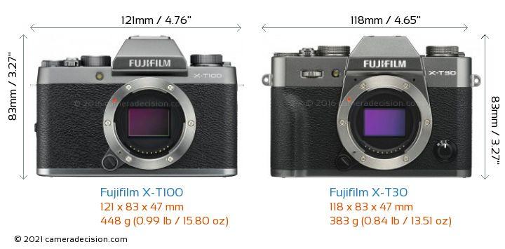 Fujifilm X-T100 vs Fujifilm X-T30 Camera Size Comparison - Front View