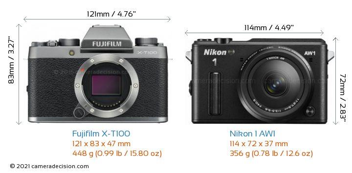 Fujifilm X-T100 vs Nikon 1 AW1 Camera Size Comparison - Front View