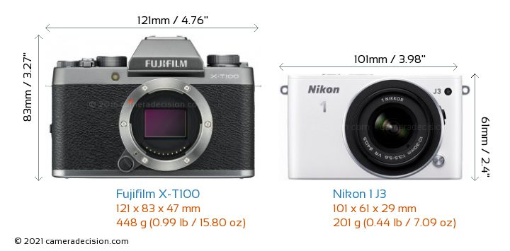 Fujifilm X-T100 vs Nikon 1 J3 Camera Size Comparison - Front View