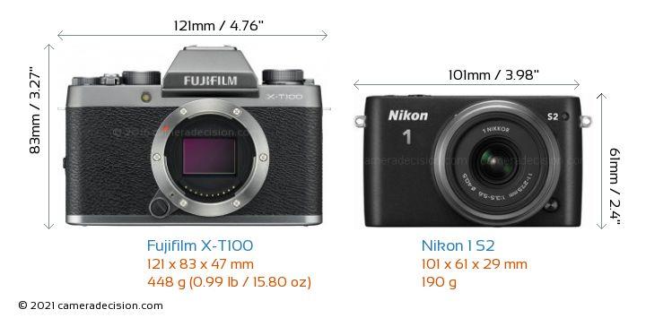 Fujifilm X-T100 vs Nikon 1 S2 Camera Size Comparison - Front View