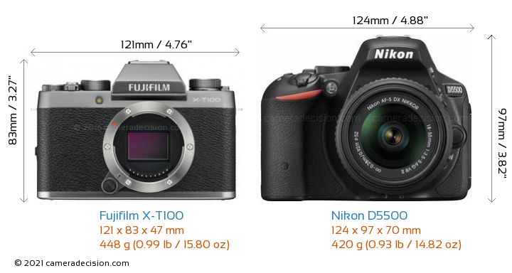 Fujifilm X-T100 vs Nikon D5500 Camera Size Comparison - Front View