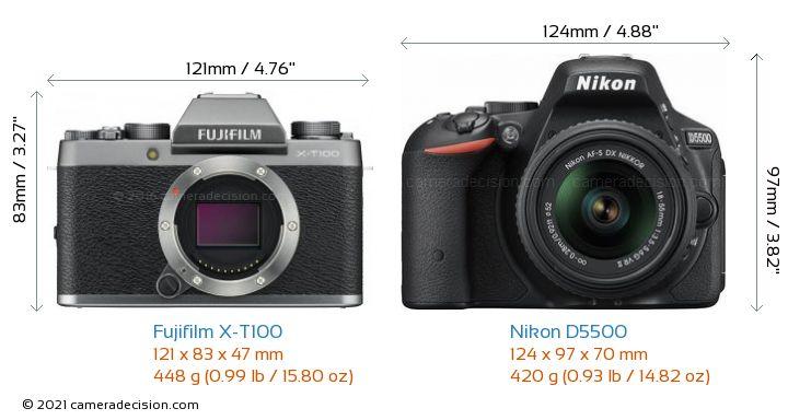 Fujifilm X-T100 vs Nikon D5500 Camera Size Comparison - Front View