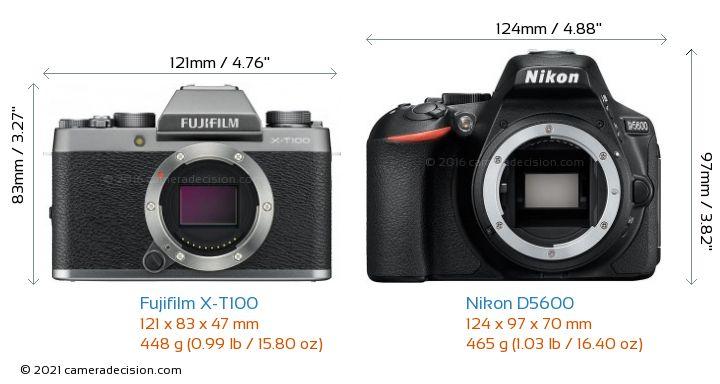 Fujifilm X-T100 vs Nikon D5600 Camera Size Comparison - Front View