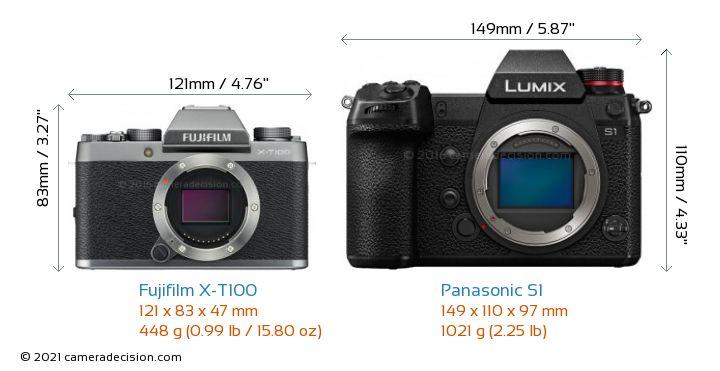 Fujifilm X-T100 vs Panasonic S1 Camera Size Comparison - Front View