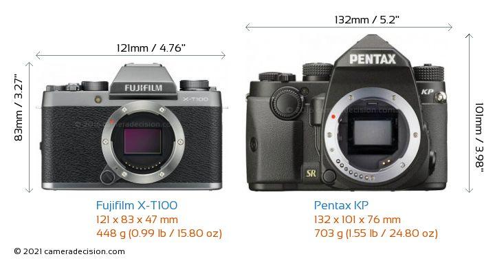 Fujifilm X-T100 vs Pentax KP Camera Size Comparison - Front View