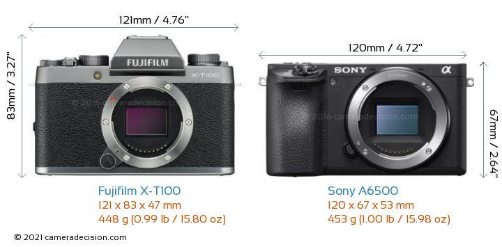 Fujifilm X-T100 vs Sony A6500 Camera Size Comparison - Front View