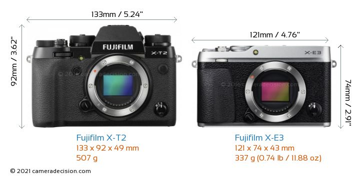 Fujifilm X-T2 vs Fujifilm X-E3 Camera Size Comparison - Front View
