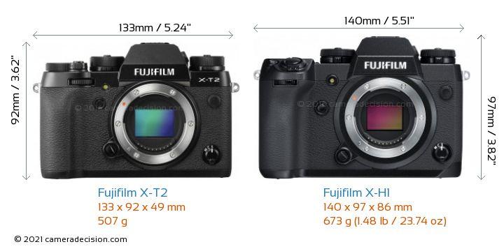 Fujifilm X-T2 vs Fujifilm X-H1 Camera Size Comparison - Front View