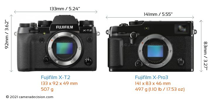Fujifilm X-T2 vs Fujifilm X-Pro3 Camera Size Comparison - Front View