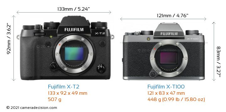 Fujifilm X-T2 vs Fujifilm X-T100 Camera Size Comparison - Front View