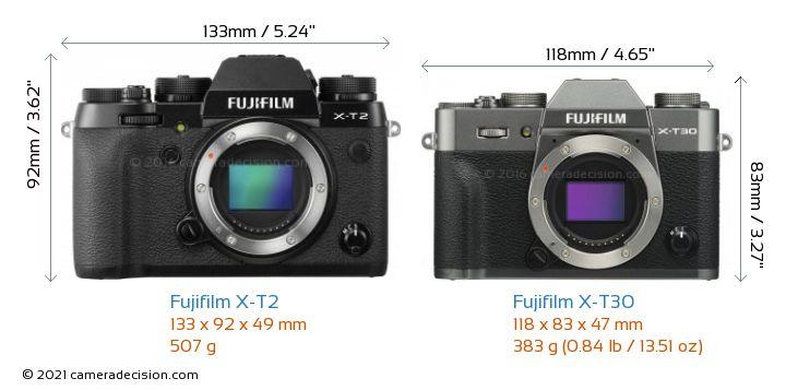 Fujifilm X-T2 vs Fujifilm X-T30 Camera Size Comparison - Front View