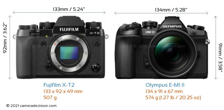 Fujifilm X-T2 vs Olympus E-M1 II Camera Size Comparison - Front View