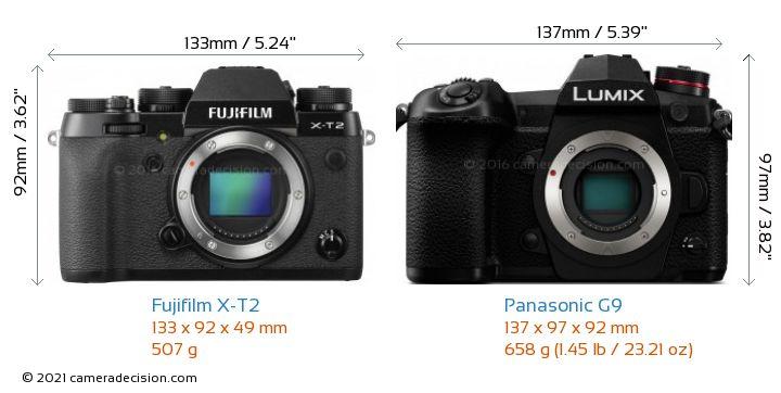 Fujifilm X-T2 vs Panasonic G9 Camera Size Comparison - Front View