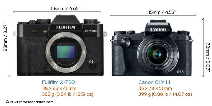 Fujifilm X-T20 vs Canon G1 X III Camera Size Comparison - Front View