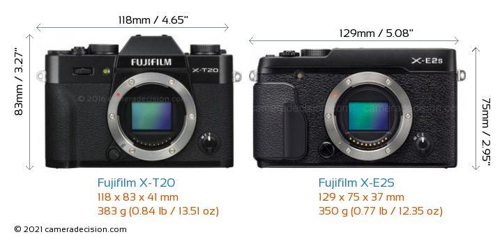 Fujifilm X-T20 vs Fujifilm X-E2S Camera Size Comparison - Front View