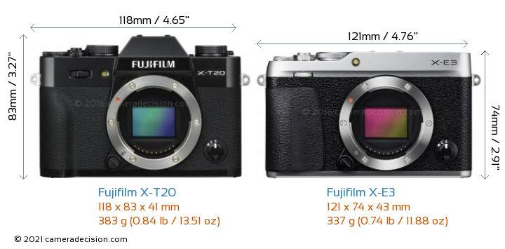 Fujifilm X-T20 vs Fujifilm X-E3 Camera Size Comparison - Front View