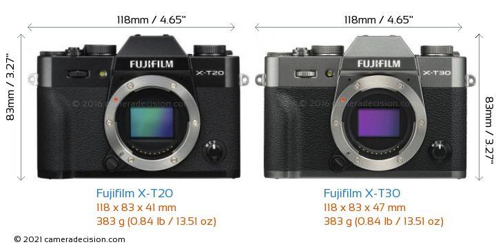 Fujifilm X-T20 vs Fujifilm X-T30 Camera Size Comparison - Front View