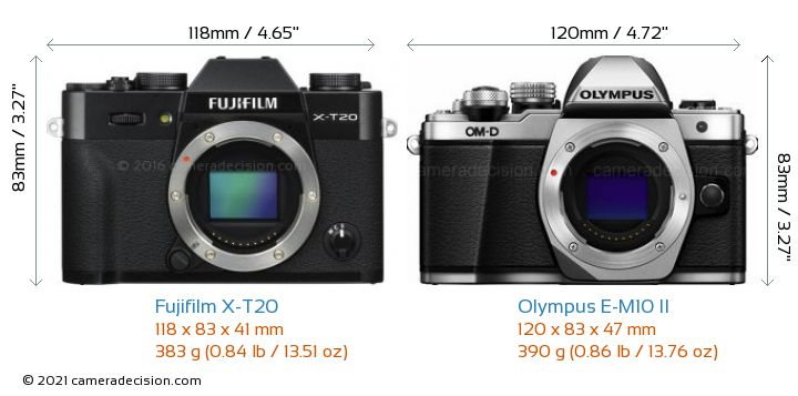 Fujifilm X-T20 vs Olympus E-M10 II Camera Size Comparison - Front View