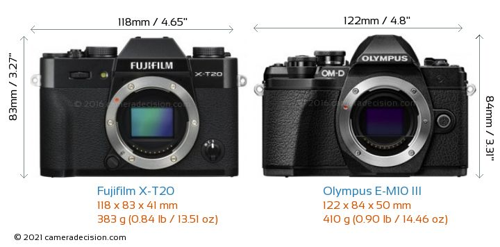 Fujifilm X-T20 vs Olympus E-M10 MIII Camera Size Comparison - Front View