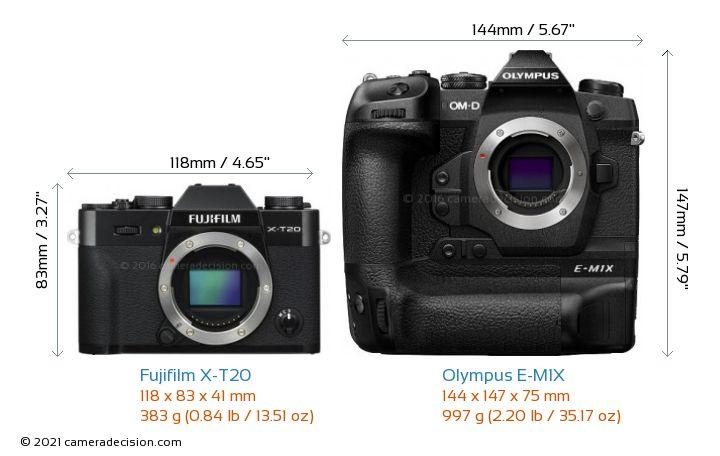 Fujifilm X-T20 vs Olympus E-M1X Camera Size Comparison - Front View