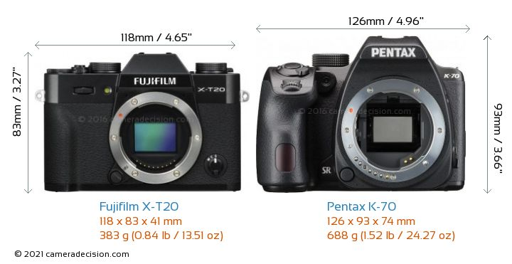 Fujifilm X-T20 vs Pentax K-70 Camera Size Comparison - Front View