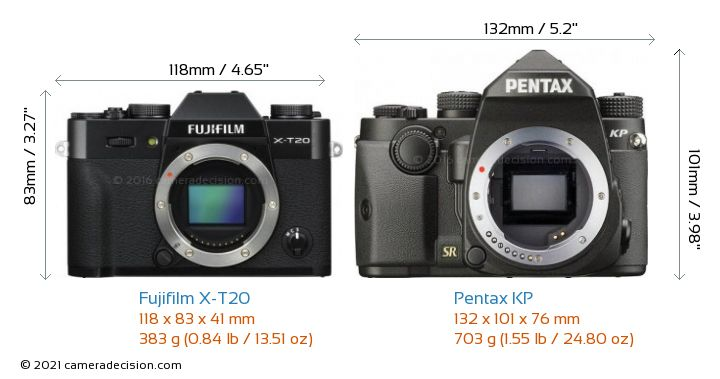 Fujifilm X-T20 vs Pentax KP Camera Size Comparison - Front View
