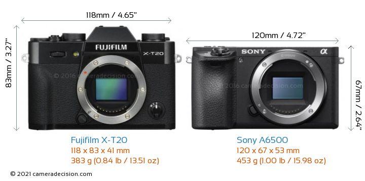 Fujifilm X-T20 vs Sony A6500 Camera Size Comparison - Front View