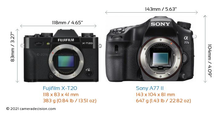 Fujifilm X-T20 vs Sony A77 II Camera Size Comparison - Front View