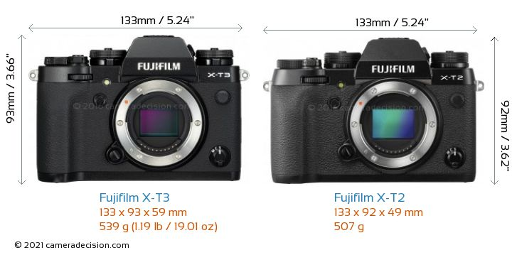 Fujifilm X-T3 vs Fujifilm X-T2 Camera Size Comparison - Front View