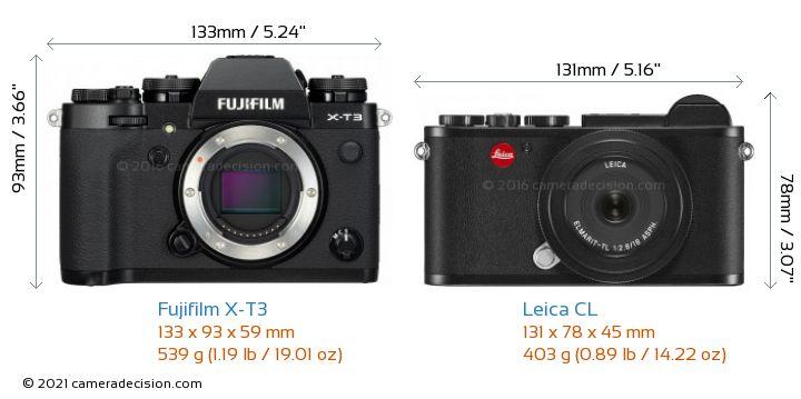 Fujifilm X-T3 vs Leica CL Camera Size Comparison - Front View