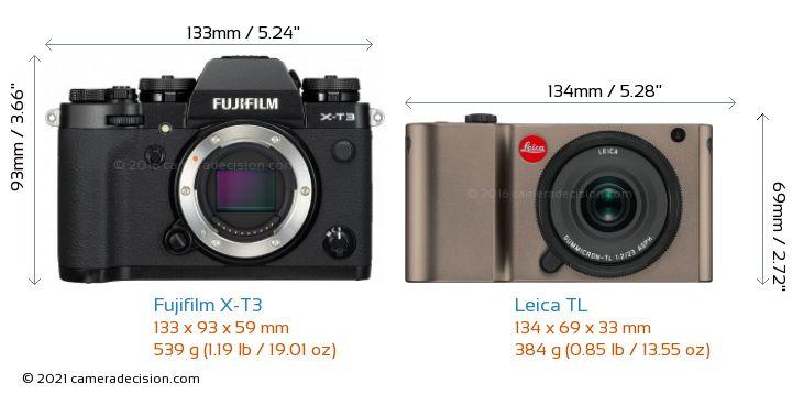 Fujifilm X-T3 vs Leica TL Camera Size Comparison - Front View