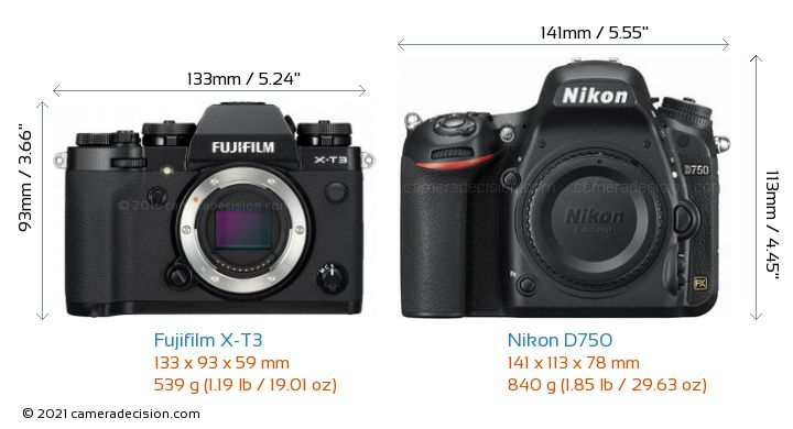 Fujifilm X-T3 vs Nikon D750 Camera Size Comparison - Front View