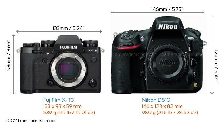 Fujifilm X-T3 vs Nikon D810 Camera Size Comparison - Front View