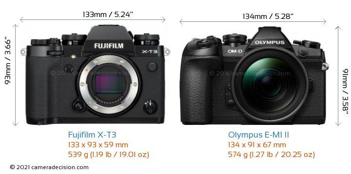 Fujifilm X-T3 vs Olympus E-M1 II Camera Size Comparison - Front View