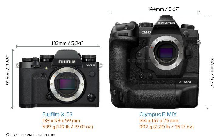 Fujifilm X-T3 vs Olympus E-M1X Camera Size Comparison - Front View