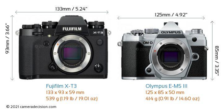 Fujifilm X-T3 vs Olympus E-M5 III Camera Size Comparison - Front View