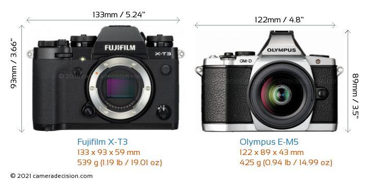 Fujifilm X-T3 vs Olympus E-M5 Camera Size Comparison - Front View