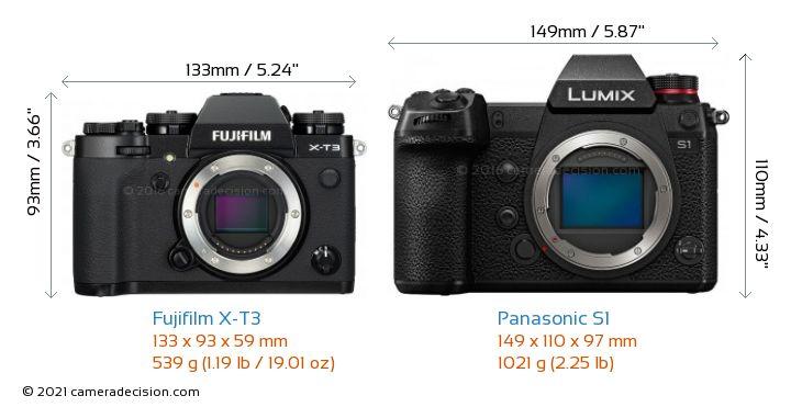 Fujifilm X-T3 vs Panasonic S1 Camera Size Comparison - Front View