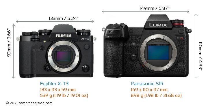 Fujifilm X-T3 vs Panasonic S1R Camera Size Comparison - Front View