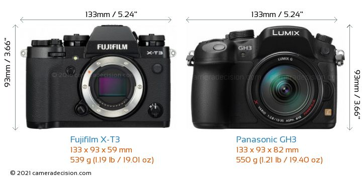 Fujifilm X-T3 vs Panasonic GH3 Camera Size Comparison - Front View