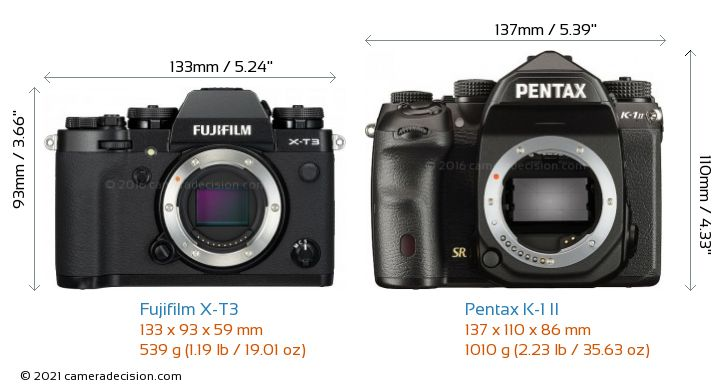 Fujifilm X-T3 vs Pentax K-1 II Camera Size Comparison - Front View