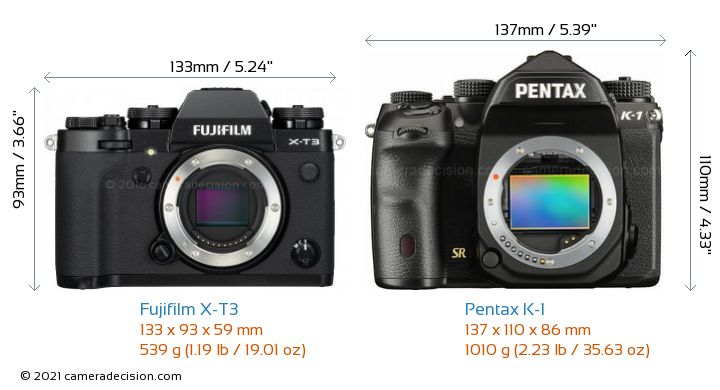 Fujifilm X-T3 vs Pentax K-1 Camera Size Comparison - Front View