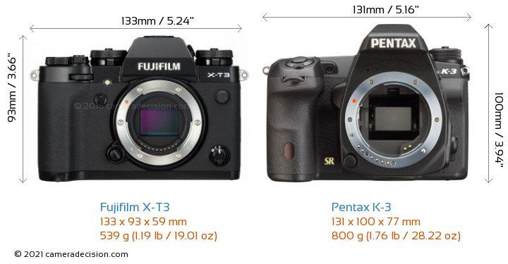 Fujifilm X-T3 vs Pentax K-3 Camera Size Comparison - Front View