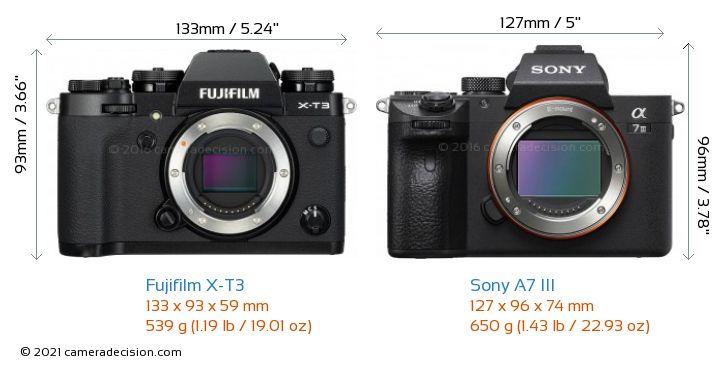 Fujifilm X-T3 vs Sony A7 III Camera Size Comparison - Front View
