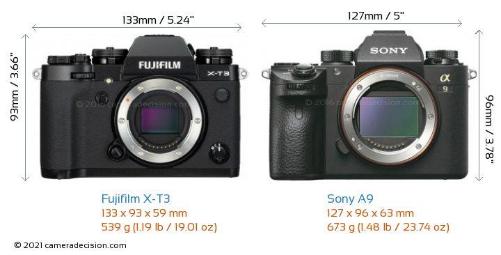Fujifilm X-T3 vs Sony A9 Camera Size Comparison - Front View