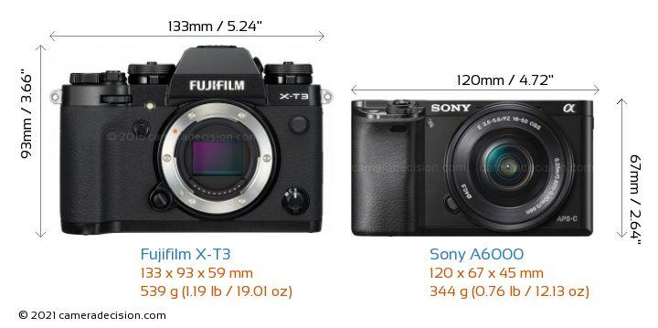 Fujifilm X-T3 vs Sony A6000 Camera Size Comparison - Front View