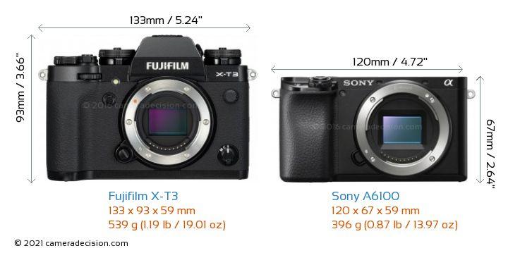 Fujifilm X-T3 vs Sony A6100 Camera Size Comparison - Front View