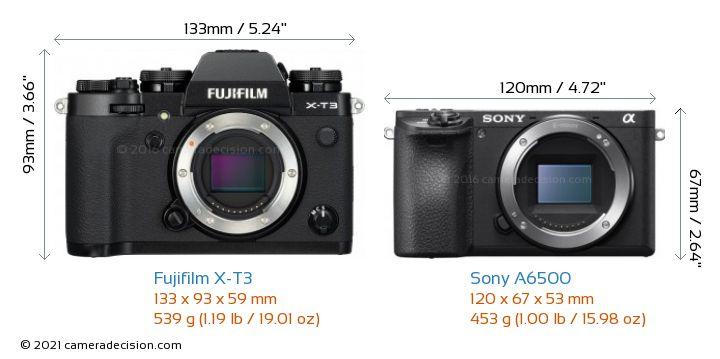 Fujifilm X-T3 vs Sony A6500 Camera Size Comparison - Front View